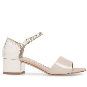 AGL Quarter Strap Metallic Silver Sandal Heels 7.5